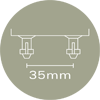 63mm x 8mm Sprung Bed Slat Holder With 2 Prongs For Centre Rail - Open Both Sides - 35mm Prong Centres