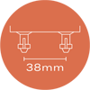 63mm x 8mm Sprung Bed Slat Holder with 2 Prongs for Side Rails and Centre Rail -	Distance Between Prongs 38mm